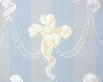 1930s Vintage Wallpaper by the Yard - White and Cream Feathers on Blue Gray Stripe with White Lace