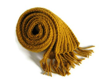 Yellow Wool Scarf - Long Scarf with Fringes