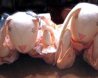 Rabbit Doll Set Tummy Bunnies Handmade Dressed in Peach
