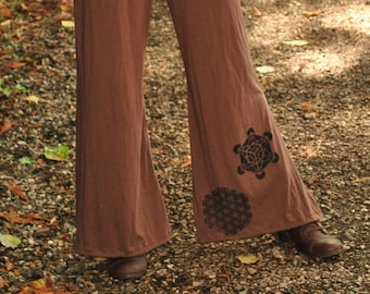 Hippie Palazzo Pants, bohemian Gypsy Pants, Organic Bamboo Jersey Pants, Festival Bell Bottoms, eco lounge pants, Wide Leg Pants with Sacred
