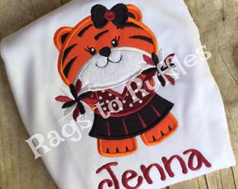 Tiger Cheerleader Personalized Shirt- Monogrammed Tiger Mascot Shirt-Personalized Tiger Shirt