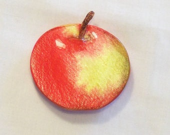 Refrigerator Magnet - Hand Painted Apple - Watercolor Painting - Fruit Magnet - Kitchen Decor - Red Apple - Home decor - Gift Item