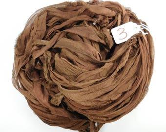Chiffon sari ribbon, Silk Chiffon Sari Ribbon, sari silk ribbon, chocolate brown ribbon, brown sari ribbon, tassel supply, spinning supply