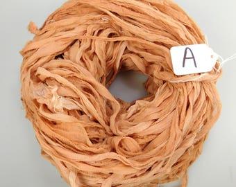CHIFFON sari ribbon, Recycled Silk Sari Ribbon, sari silk ribbon, light brown sari ribbon, tassel supply, weaving supply, knitting supply