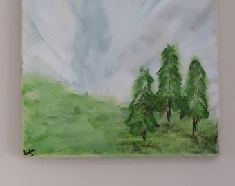 Three Trees Waiting on Spring - painting on canvas