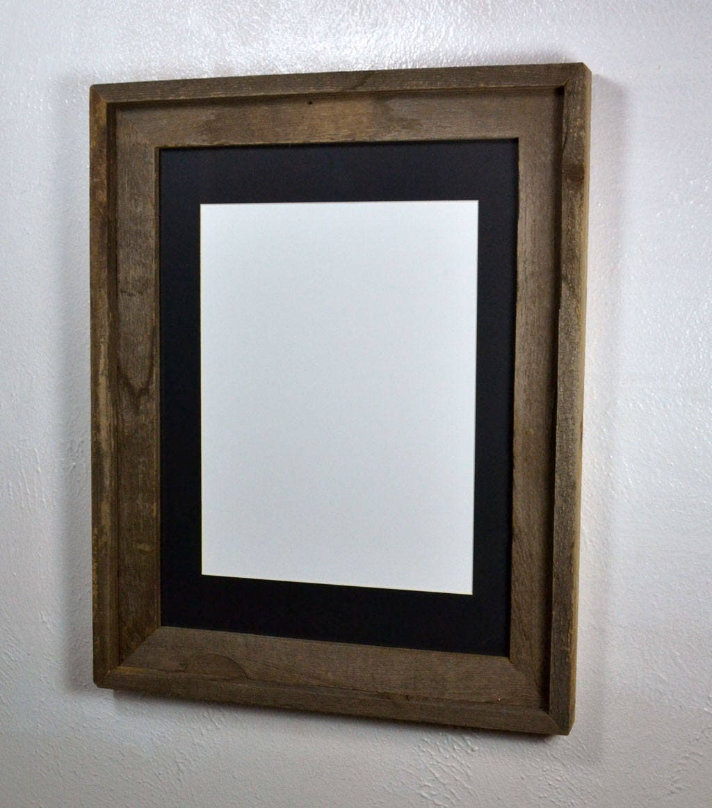12x16 Frame Upcycled Wood With Black 9x12 Mat From