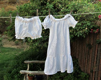 Shabby Chic Prairie Nightgown and Bloomers White Eyelet Cotton Ready now!