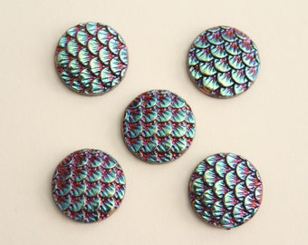 Mermaid Dragon Scale Cabochons - Blue Pink Black Iridescent . 12mm (5)
