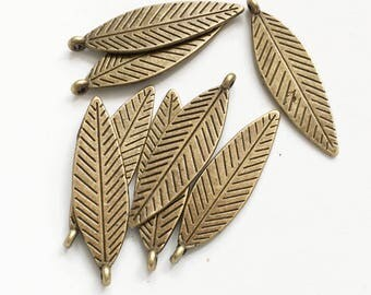 Bulk 80 pcs antique brass double sided feather drop 30x10mm, alloy feather charm, antique bronze feather charm
