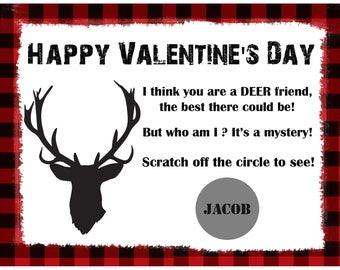 Personalized Scratch Off Valentine's Day Cards for Kids - Deer -Red Plaid - Deer Hunting Valentine - Deer Head Valentine