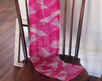 Tie dyed recycled silk scarf