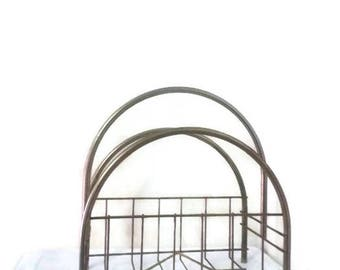 Vintage Magazine Rack Wire and Tubing Curved