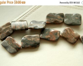 End of Summer CLEARANCE 42x35mm Large Canyon Marble, curvy, flat rectangular beads, 15 in strand