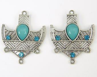Aqua Antique Silver Tribal Shield Turquoise Boho Chandelier Earring Findings |B6-1|2