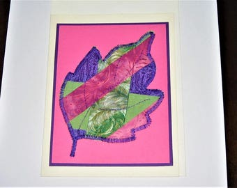 Greeting Card Quilted Leaf
