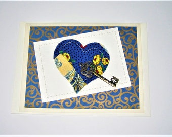 Greeting Card Quilted Heart with Key