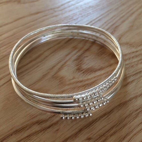 Sterling Silver Bobble Bangle - Stacking - Stacker - Minimal - Festival - Geometric