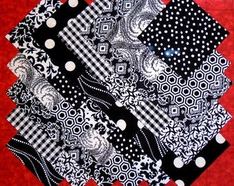 BLACK & WHITE Prints 100% cotton Prewashed 5 inch Quilt Fabric Block Squares (#B/26B)