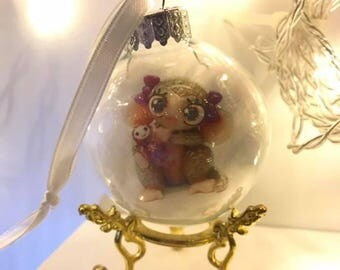 Glass ornament with Wee Creature Monkey art print inside - stand not included