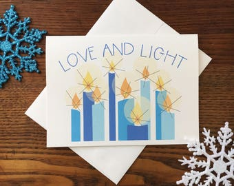 Hannukah Card. Hanukkah Menorah. Unique Holiday Card. Jewish Holiday Card. Seasonal Lights. Candle Card. Love and light card. Blank Card