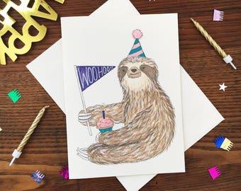Sloth Birthday Card. Sloth Card. Animal Card. Pennant Card. Blank Card. Watercolor Sloth. Sloth Gift. Cute Birthday Card. Sloth Art