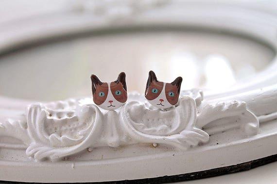 Brown tuxedo Kitty cats  Earrings cute kawaii