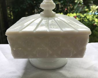 Vintage White Milk Glass Quilted Pattern Westmoreland Candy Dish with Lid