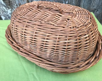 Vintage Brown Wicker Bread Basket (Tray with Cover)