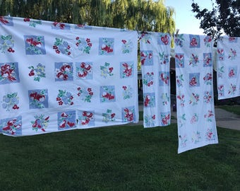 Set of 4 Vintage White with Red and Blue Fruit Print Kitchen Curtain Panels (Great for Repurposing)