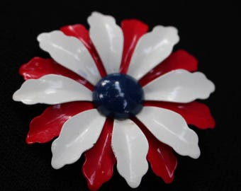 Vintage Red, White and Blue Enamel Daisy Flower Lapel Pin/Broach