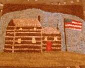 Log Cabin Flag Primitive Hooked Rug