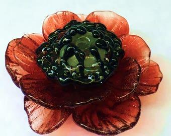 Red Poppy Boro Glass Lampwork Focal Bead or Pendant by Hannah Rosner