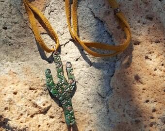 Leather Cactus Necklace - Saguaro Cactus - Hand Tooled Leather - Turquoise - Cowgirl Jewelry - Boho - Southwestern