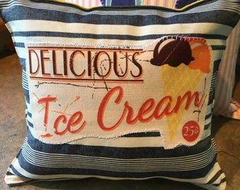 """Delicious Ice Cream Cone summer small accent pillow about 10"""" X 9"""" blue yellow white"""