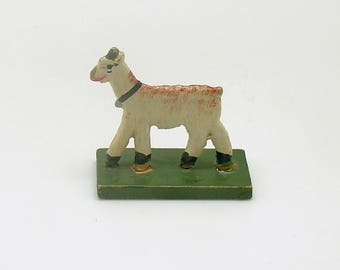 Antique Miniature Wood Goat Figurine Erzgebirge Flachfiguren Germany
