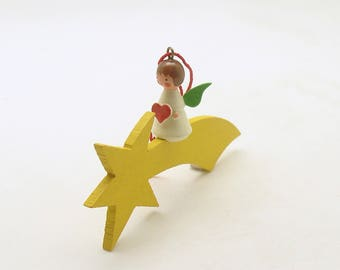 Vintage Christmas Ornament Wood Angel Heart Shooting Star West Germany