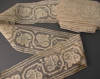 Antique lace Victorian era insertion lace trim 6YD