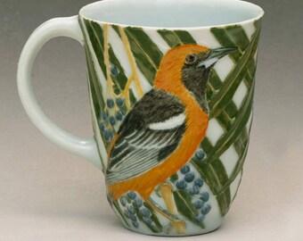 Porcelain Mug--Hooded Oriole with California Fan Palm
