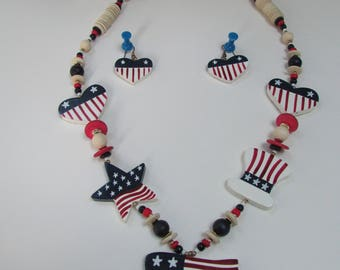 VINTAGE - Patriotic Necklace and Earring Set