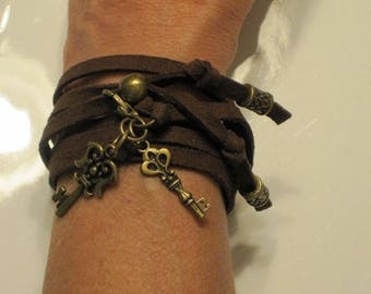 Leather Wrap Bracelet Brown Suede Bronze Gold Plated Charms