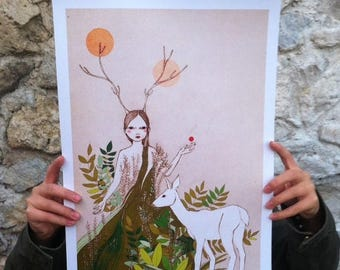 "Sale Large print of Mori deer girl, A3 format 11""x16"" /28x35cm/"