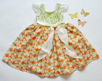 SAMPLE SALE -  Charlotte Dress - Tangerine Rose - Size 5
