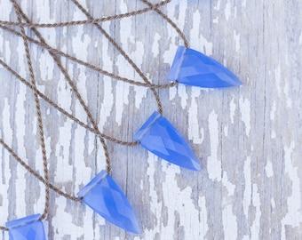 blue chalcedony pyramid briolette / handspun ROPE necklace / waterproof / kid-proof / life-proof / bohemian / minimalist beauty / tula blue
