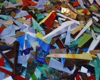 2lbs Bits and Pieces Scrap  Stained Glass Mosaic Tiles