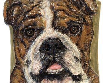 In Stock English Bulldog CERAMIC Portrait Sculpture 3D Dog Art Tile Plaque FUNCTIONAL ART by Sondra Alexander