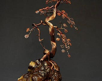 Hand Twisted Metal Copper Bonsai Wire Tree Art Sculpture  - 2276 - FREE SHIPPING