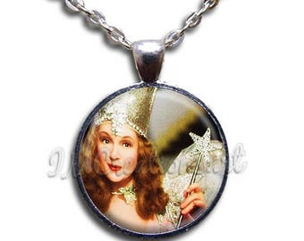 25% OFF - Wizard of Oz Glinda Glass Dome Pendant or with Chain Link Necklace WZ111