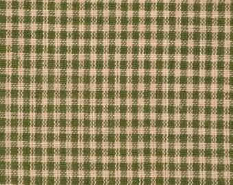 Homespun Fabric   Cotton Homespun Fabric   Quilt Fabric   Green And Tea Dye Small Check   29 x 44