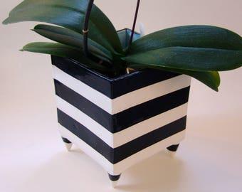 Huge Black & White striped ceramic Planter, pottery square kitchen vessel