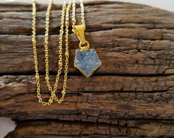 Quartz Crystal Tiny Drusy 14k Gold Vermiel Necklace